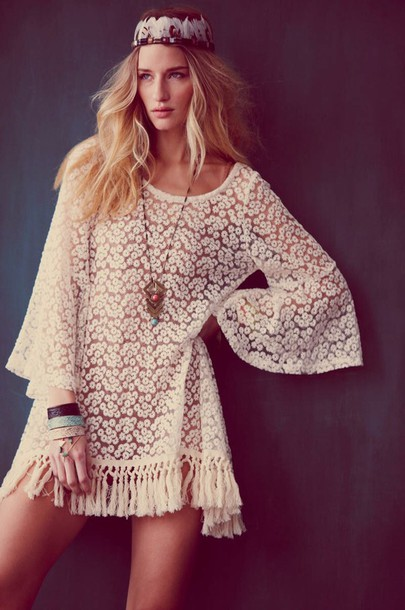 dress boho indie flowers fringes white
