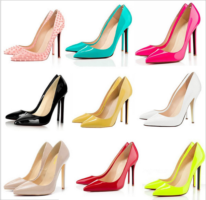 New 2014 Red sole high heel shoes Pointed toe pumps fashion thin heels shoes Patent leather Neon Color Sexy pump-in Pumps from Shoes on Aliexpress.com
