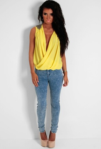 blouse yellow wrap front