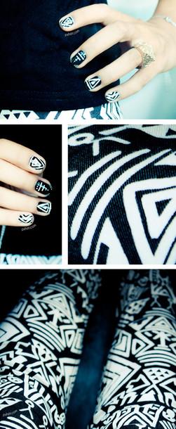 pants h&m aztec black and white