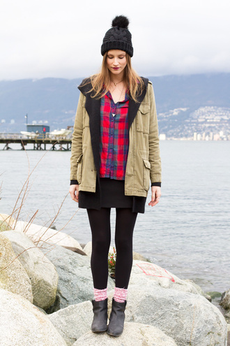 styling my life blogger parka army green jacket flannel shirt pom pom beanie coat sweater shirt skirt socks shoes hat jewels