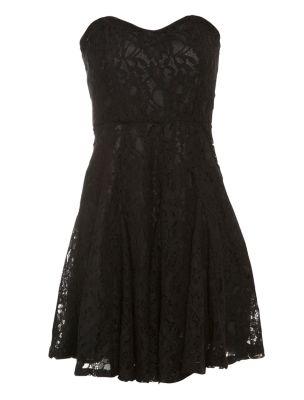 Influence Black Lace Strapless Dress