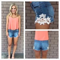 Love & Lace Crochet Shorts- DARK WASH                             Dainty Hooligan Boutique