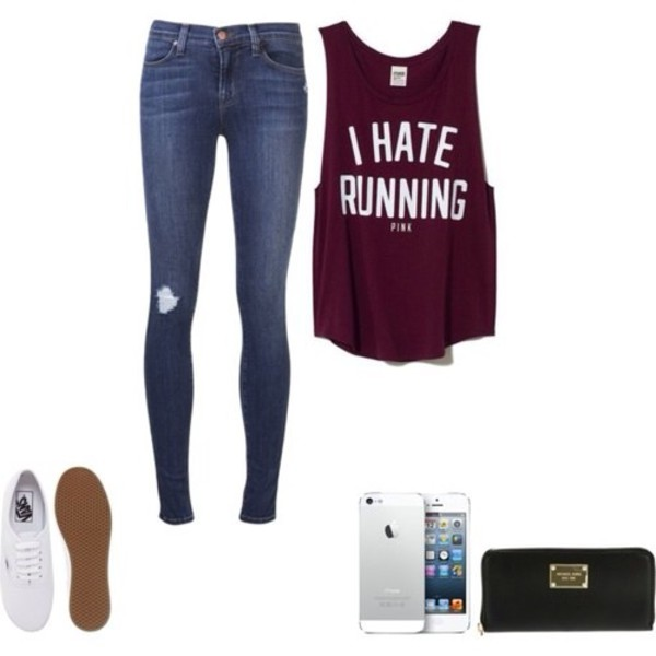 t-shirt pink workout jeans shoes