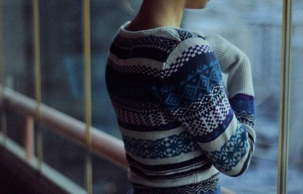 sweater jumper blue pattern knitwear fairisle nordic white