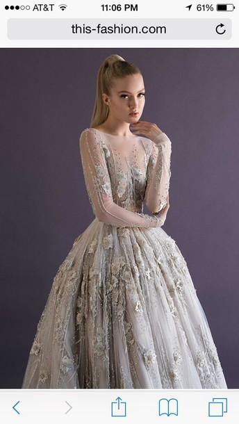 dress long sleeve shear top ball gowwn