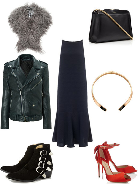 bisous natascha blogger fluffy winter outfits red heels ankle boots leather jacket
