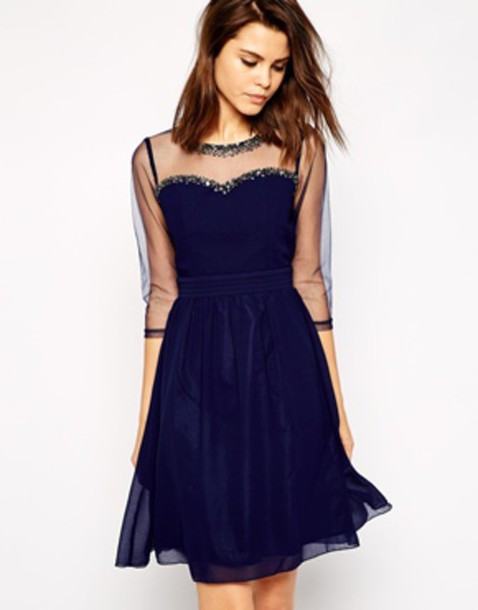 dress dark blue velour see through dress