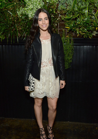 jessica lowndes dress lace leather jacket shoes beige black