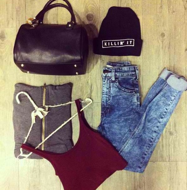 bag tank top hat jeans