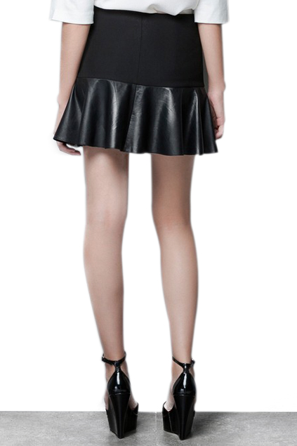 ROMWE | ROMWE Pleated PU Panel Sheer Black Skirt, The Latest Street Fashion