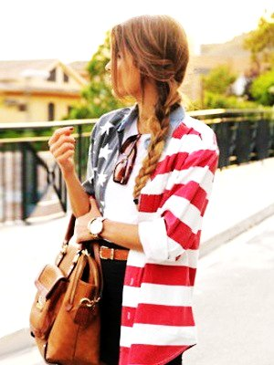 American Flag Print Shirt - Shirts - american flag: Clothes by Liselotte Oplaat