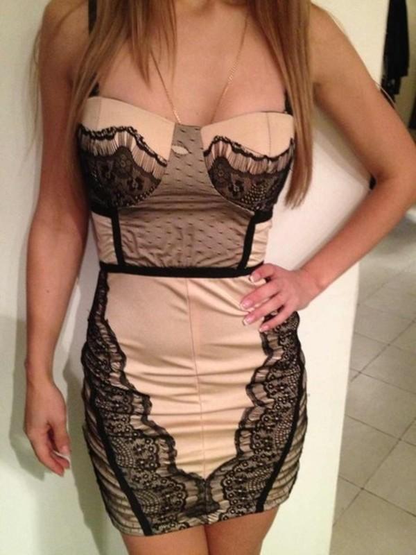 dress lace dress biege