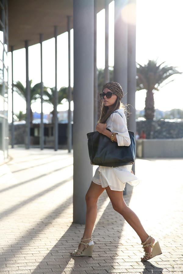 style heroine blouse shorts shoes bag sunglasses