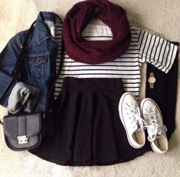 scarf top shoes skirt bag watch hot cute fall outfits spring outfits wanted hat jacket jean jackets shirt t-shirt stripes burgundy white black maroon/burgundy fall outfits