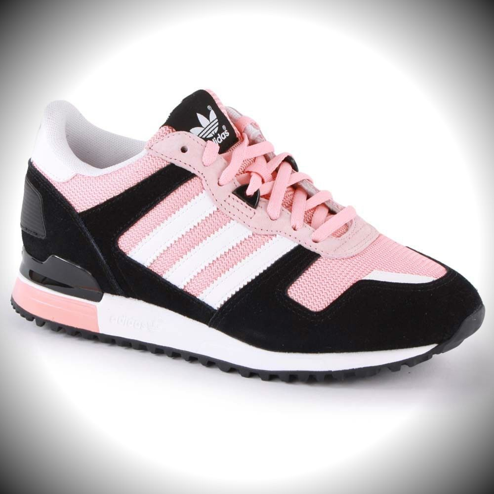 WOMENS ADIDAS Classic ZX 700 Sneakers Black / White / Pink D65877 | eBay