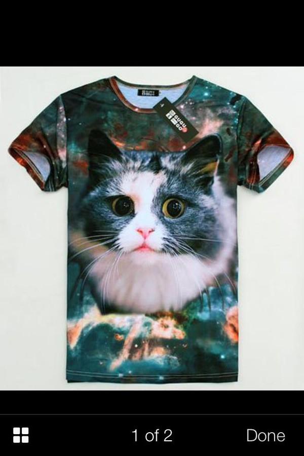 t-shirt cat shirt cats galaxy print