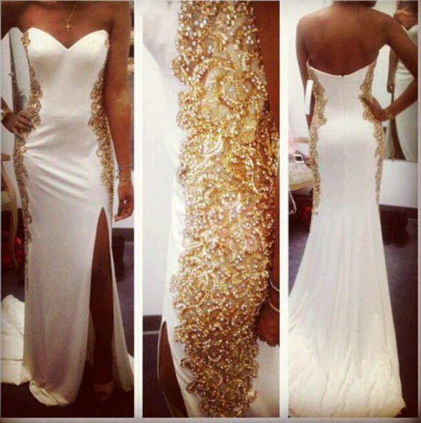 dress maxi dress gold dress white dress bag gold elegant long dress slit dress white gold dress long elegant white prom dress long prom dress prom dress long prom dress gold sequins wedding clothes wedding dress strapless wedding dresses white white and gold dress white dress with gold beautiful white dress prom white gold gold and white dress