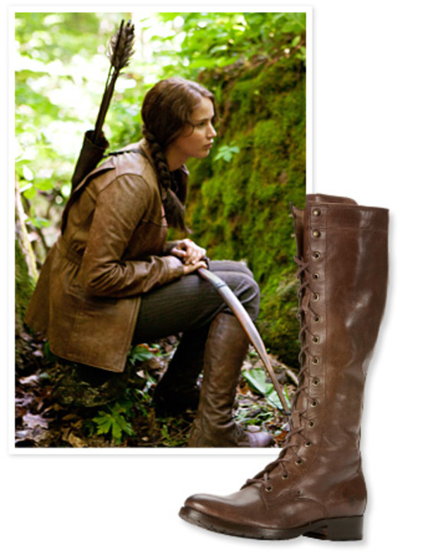 shoes jennifer lawrence katniss everdeen katniss the hunger games boots lace up knee high boots knee high brown leather