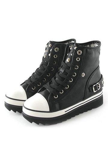 Rivet Details Buckle Belt Back Anti-slip Sole Platform Sneakers [FABI1094] - PersunMall.com
