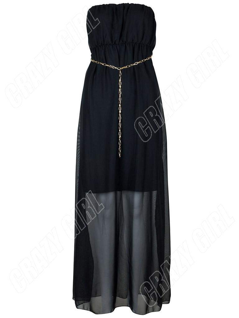 New Womens Ladies Strapless Bandeau Plain Chiffon Summer Maxi Dress Size 8 12 14 | eBay
