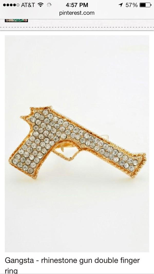 jewels ring double ring gun jewelry