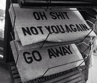 sunglasses home decor jewels doormat oh shit not you again go away welcome mat