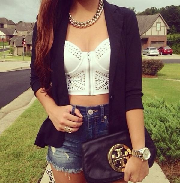 jacket crop tops blazer shorts blouse