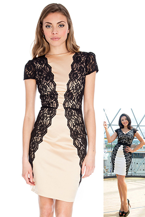 Cap Sleeve Lace Panel Dress in the style of Kelly Brook