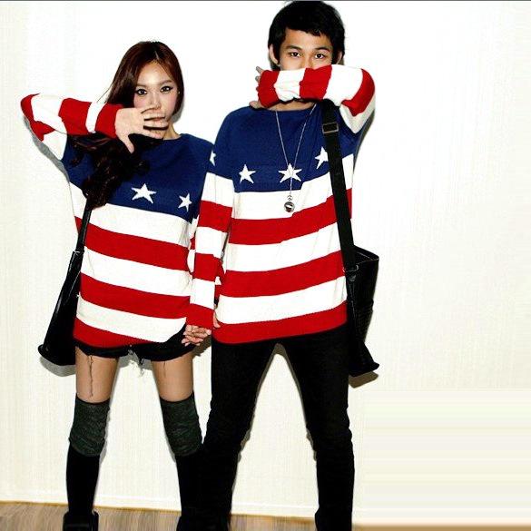 2013 herbst winter neue mode amerika flagge lose gestreiften pullover strickwaren blusen strick pullover für