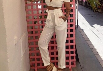 pants pantalla pantalon white girl high waisted style blanco joggers high waisted jeans white pants