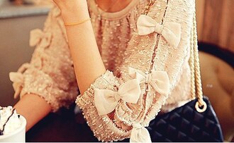 blouse bow cream top sweat heart top sweatheart roses bright knit sweater bowed shirt pink sweater glamour