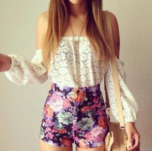 shorts blouse shirt white lace top