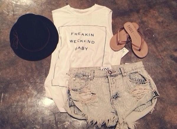 t-shirt shorts hat