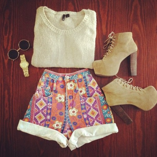shorts clothes High waisted shorts shoes print pattern daisy colorful girly girl jewels High waisted shorts aztec knit sweater taupe watch gold heels sunglasses round sunglasses tribal pattern high waisted high heels shirt cream white cute aztec shorts hemed oversized sweater comfy flowered shorts