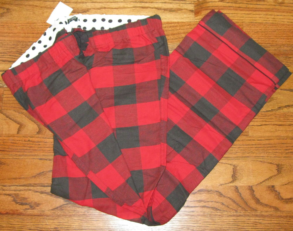 J Crew Dream Wear Flannel Sleep Pants Red Black Check Women Large 12 14 $49 | eBay