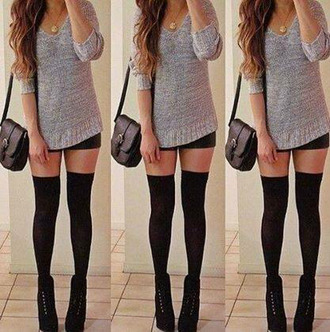 sweater grey sweater black bag black heels knee high socks necklace t-shirt shorts shoes underwear tights shirt cute sweaters cute outfits socks boots grey jumper roll up sleeves