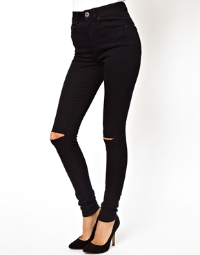 ASOS | ASOS Ridley Supersoft Ultra Skinny Jeans in Clean Black with Rips at ASOS