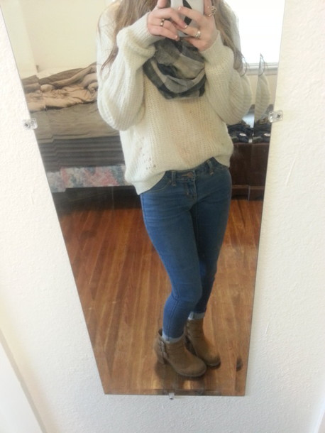 shorts ankle boots scarf sweater