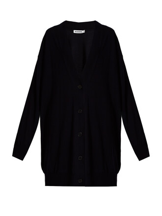 cardigan long wool navy sweater