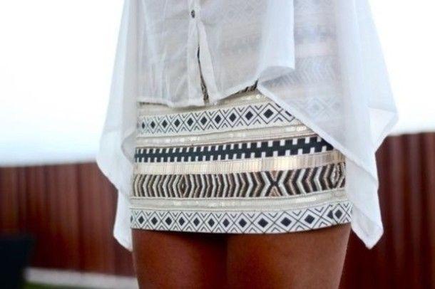 Zara Aztec Ethnic Mini Skirt Cream Gold Bead Sequin Bloggers Sold Out All Sizes | eBay