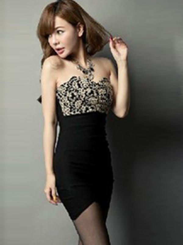 Red/Black Lace Princess Patchwork Backless Sexy Dress : KissChic.com