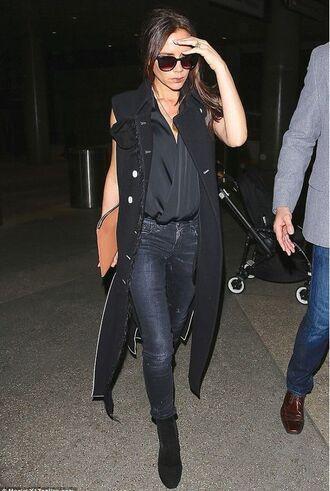 jeans denim jacket vest victoria beckham boots shoes sleeveless coat