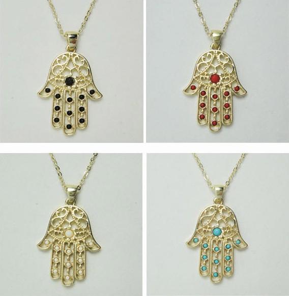 New jewelry design arrivals unique hamsa hand necklace with multi colors stones paved fashion jewelry -in Pendant Necklaces from Jewelry on Aliexpress.com