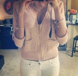 sweater cardigan gilet pink sexy sweater cute zip up cardigan