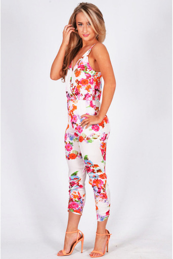 Ladies Junius Floral Print Chiffon Croosover Strappy Jumpsuit at Pop Couture UK