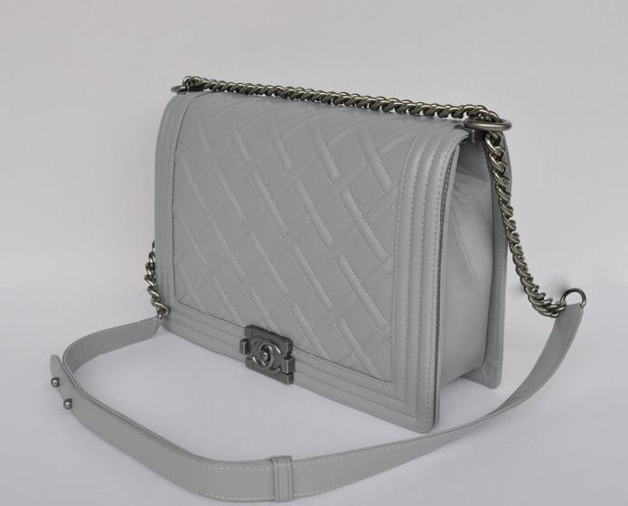Replica Chanel Le Boy A68087 Light Grey Calfskin Flap Shoulder Bag Hot Sale