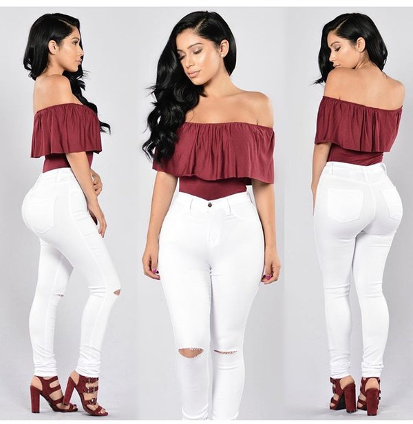 top, off the shoulder, outfit, outfit idea, summer outfits ...