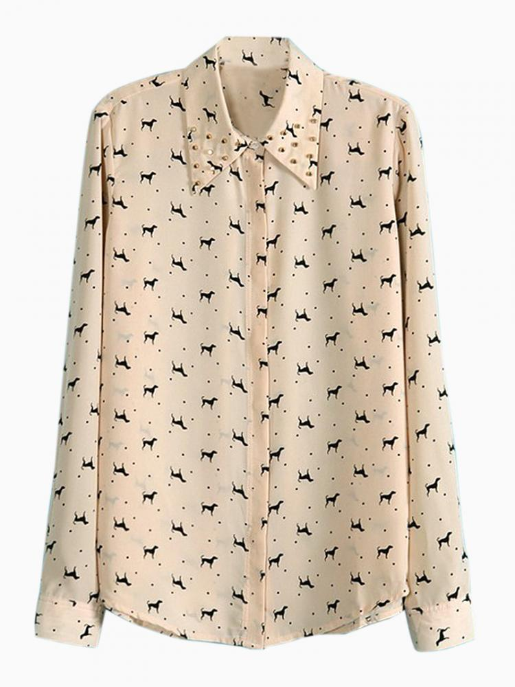 Dog Printed Shirt With Studded Shirt In Pink | Choies