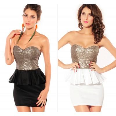 Buy Fashion Clothing -  Sleeveless Gold Top Tight Bodycon Dress